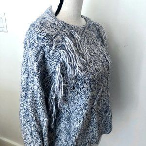 Bershka Blue/White Knit Tassel Sweater